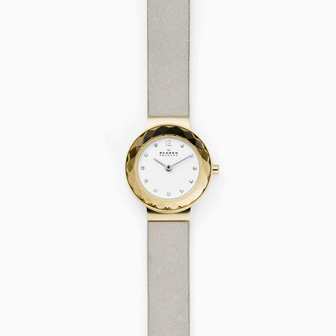 Leonora Silver Leather Watch