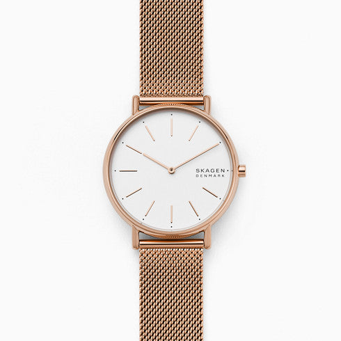 Signatur Rose Tone Steel Mesh Watch