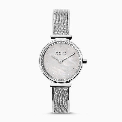 Annelie Silver Tone Glitz Mesh Bangle Watch