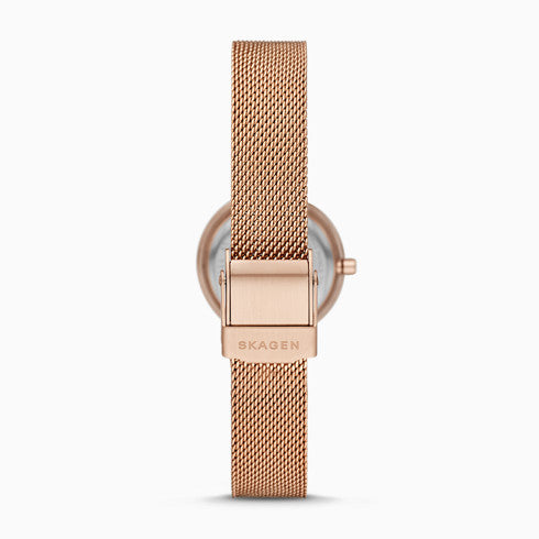 Leonora Rose Gold Tone Steel Mesh Watch