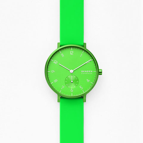 Aaren Kulor Neon Green Silicone 36mm Watch