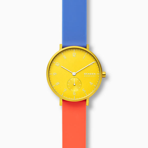 Aaren Kulor Color Blocked 36mm Watch Yellow Dial