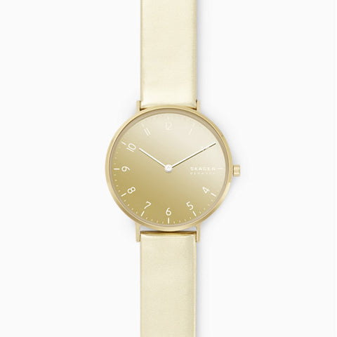 Aaren Kulor Two Hand Metallic Gold Leather 36mm Watch
