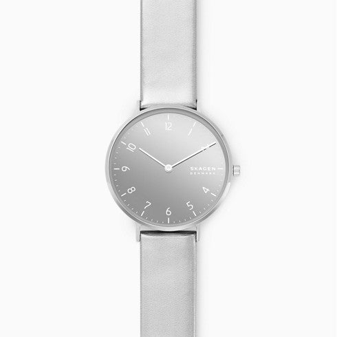 Aaren Kulor Two Hand Metallic Silver Leather 36mm Watch