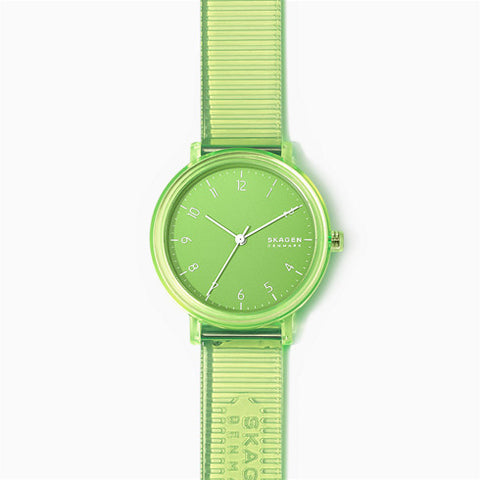 Aaren Transparent Three Hand Green 36mm Watch