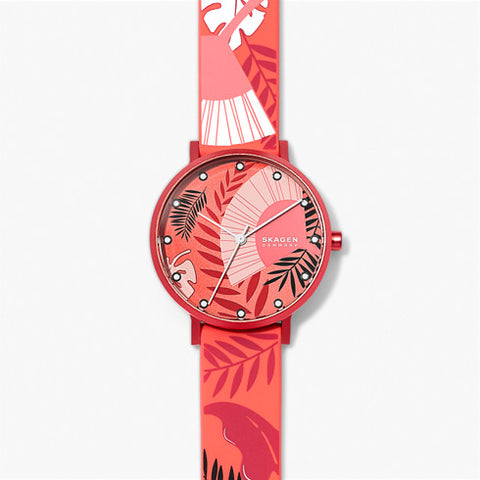 Aaren Three Hand Floral Print Coral Silicone 36mm Watch