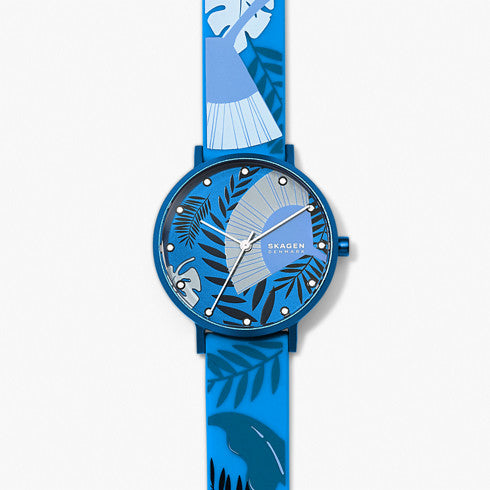 Aaren Three Hand Floral Print Blue Silicone 36mm Watch