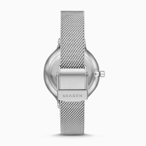 Anita Three Hand Silver Tone Steel Mesh Watch