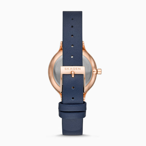 Anita Three Hand Blue Leather Watch