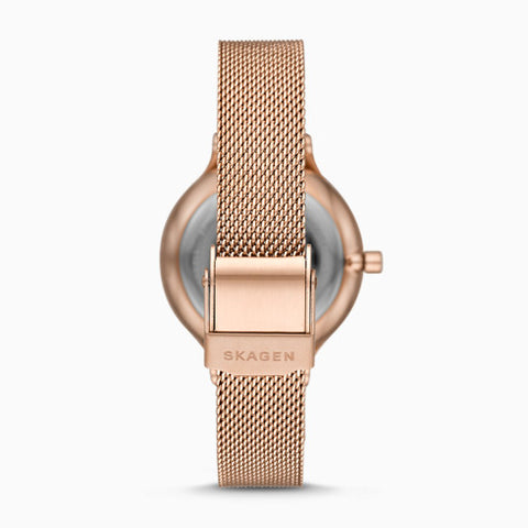 Anita Three Hand Rose Tone Steel Mesh Watch