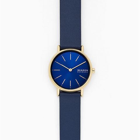 Signatur Two Hand Blue Leather Watch