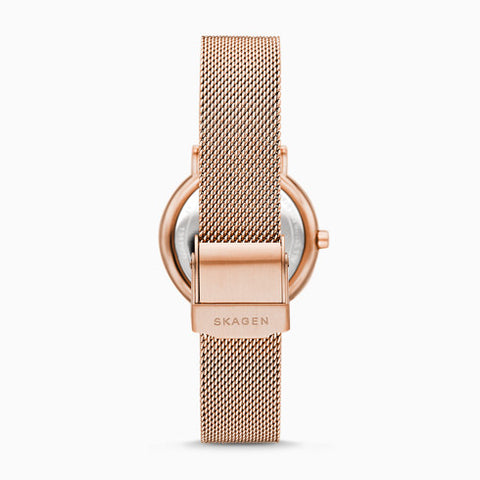 Signatur Two Hand Rose Tone Steel Mesh Watch