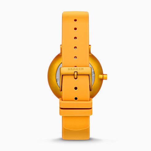 Helmstedt x Skagen Aaren 36mm Three Hand Yellow Silicone Watch