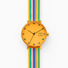 Helmstedt x Skagen Aaren 36mm Three Hand Multicolored Striped Silicone Watch