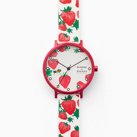 Helmstedt x Skagen Aaren 36mm Three Hand Strawberry Print White Silicone Watch
