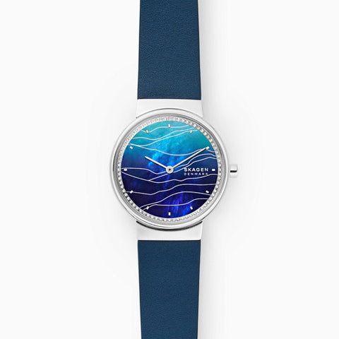 Annelie Two Hand Blue Leather Watch