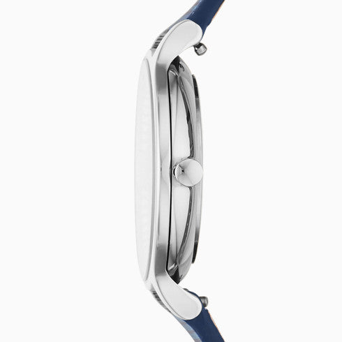 Anita Three-Hand Blue Leather Watch