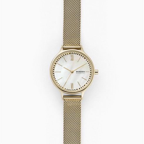 Anita Three Hand Gold Tone Steel Mesh Watch