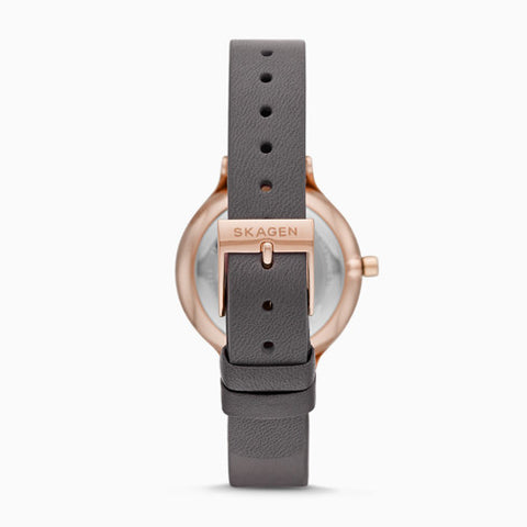 Anita Three Hand Gray Leather Watch