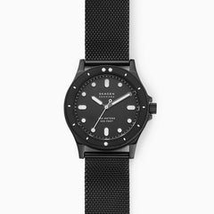 Fisk Three Hand Black Steel Mesh Watch