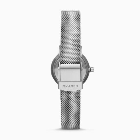 Freja Two Hand Silver Tone Steel Mesh Watch