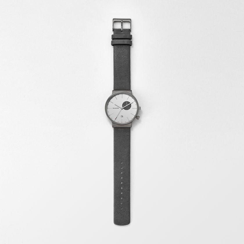 Ancher Titanium & Leather Dual-Time Watch