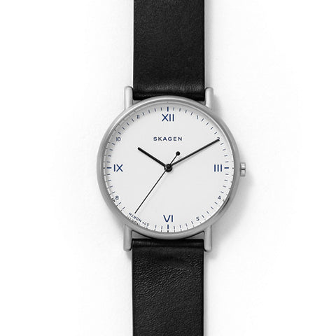 SKAGEN x Playtype Signatur Black Leather Watch