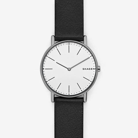 Signatur Slim Titanium and Leather Watch
