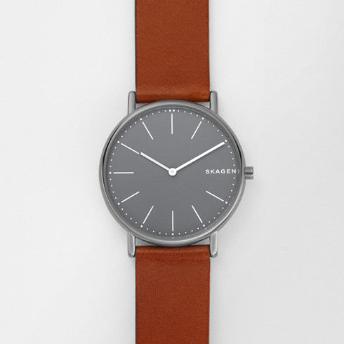 Signatur Slim Titanium and Cognac Leather Watch