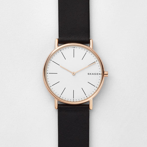 Signatur Slim Titanium and Black Leather Watch