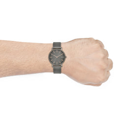 Hagen Slim Dark Gray Steel Mesh Watch