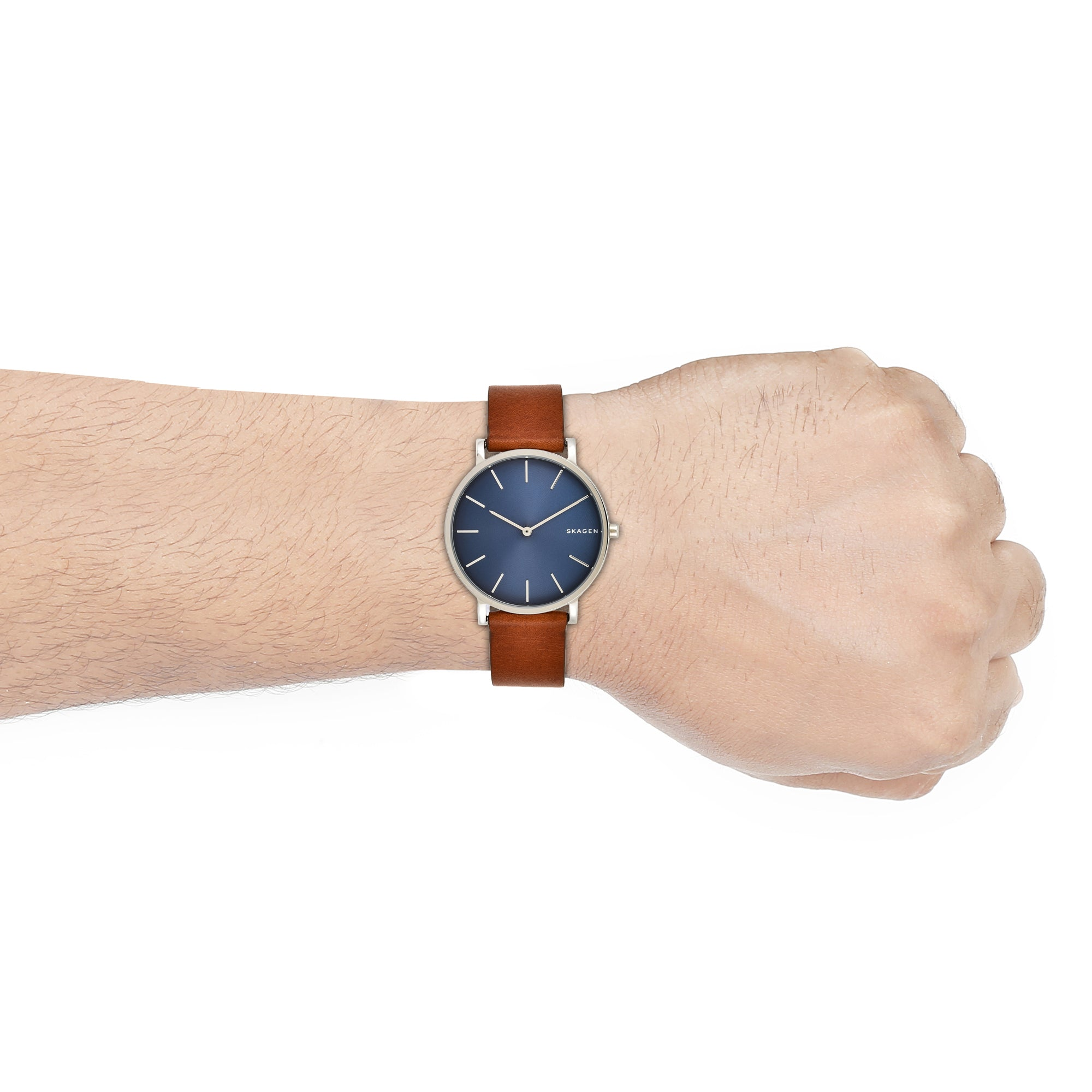 Hagen Slim Brown Leather Watch