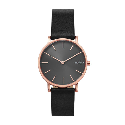 Hagen Slim Black Leather Watch