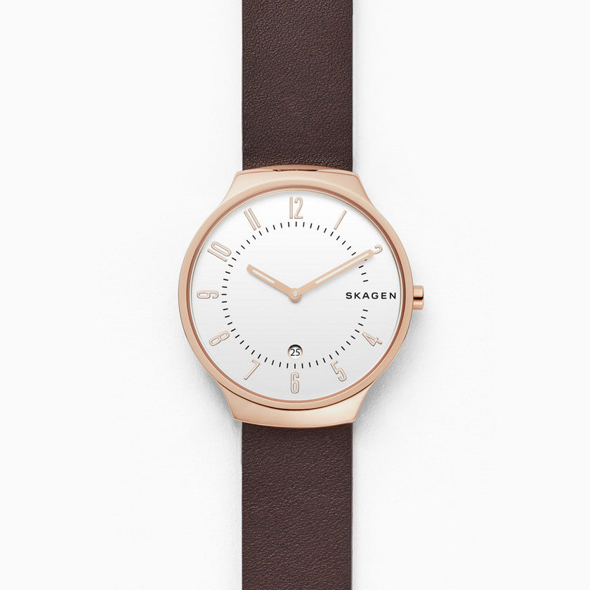 Grenen Slim Dark Brown Leather Watch