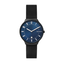 Grenen Slim Black Steel-Mesh Watch