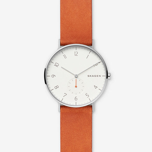 Aaren Orange Leather Watch