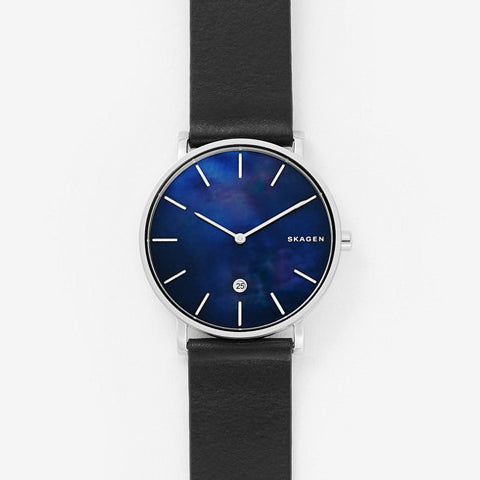 Hagen Slim Mother of Pearl Black Leather Watch