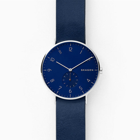 Aaren Blue and Dark Red Reversible Leather Watch