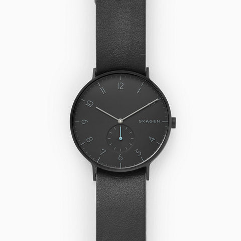 Aaren Black and Gray Reversible Leather Watch