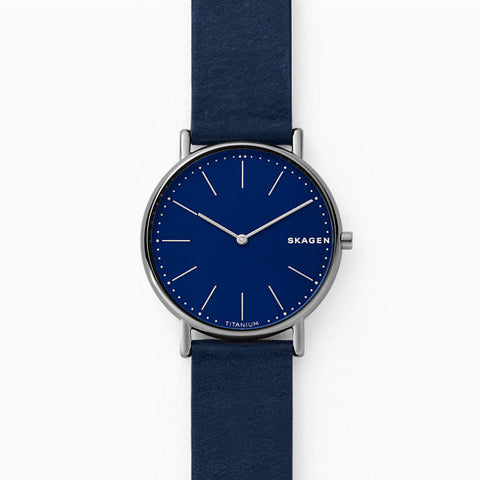 Signatur Slim Titanium and Blue Leather Watch