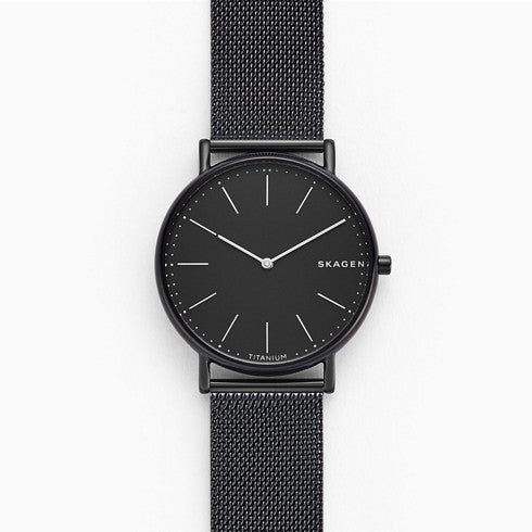 Signatur Slim Titanium and Black Steel Mesh Watch