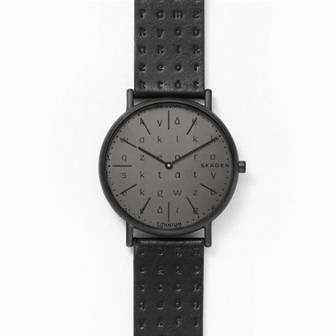 Signatur Slim Alphabet Black Leather 40mm Watch