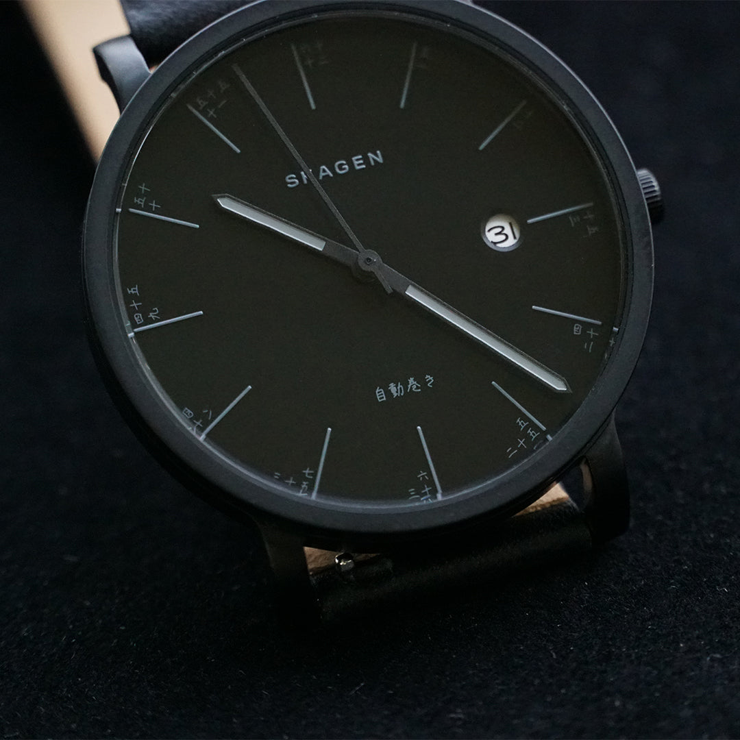 Hagen Black Leather Automatic Watch
