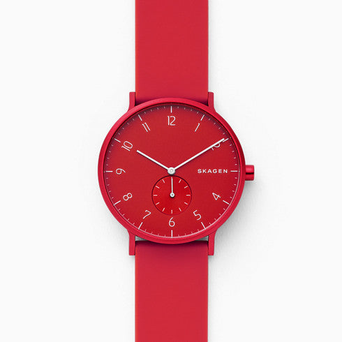 Aaren Kulør Red Silicone 41mm Watch