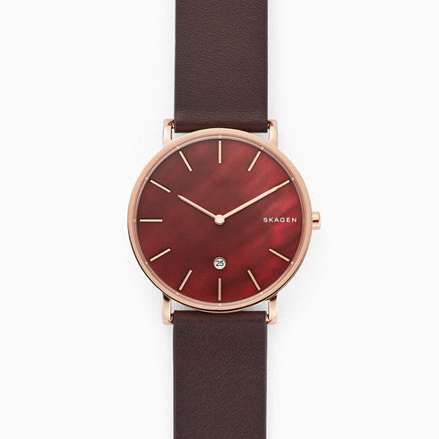 Hagen Slim Mother-of-Pearl Brown Leather Watch