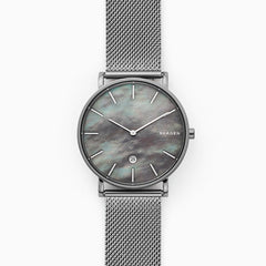 Hagen Slim Mother-of-Pearl Gray Steel-Mesh Watch