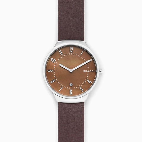 Grenen Brown Leather Mother of Pearl Watch