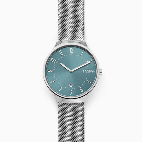 Grenen Slim Silver Tone Steel Mesh Watch