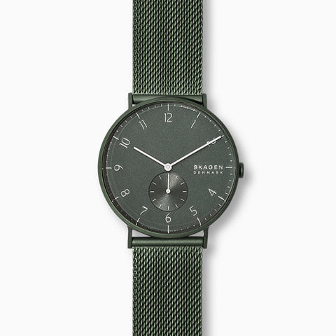 Aaren Kulor Matte Green Steel Mesh 40mm Watch