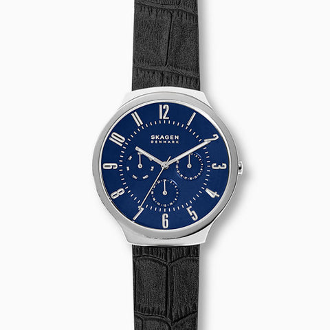 Grenen Black Leather Multifunction Watch